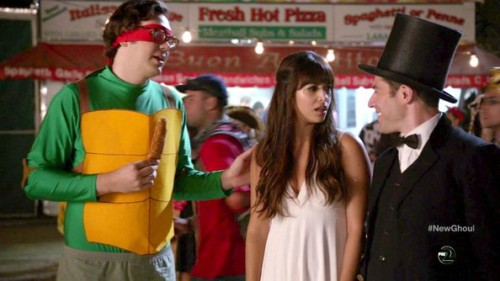 Robbie as a ninja turtle, Cece as an angel, and Schmidt as Abraham Lincoln